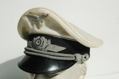 German WWII Luftwaffe Officers White Topped Summer Visor