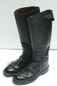 German WWII Officers Tall Black Leather Jackboots