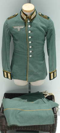 German WWII Army Kradshutzen Dress or Parade Tunic and Trousers