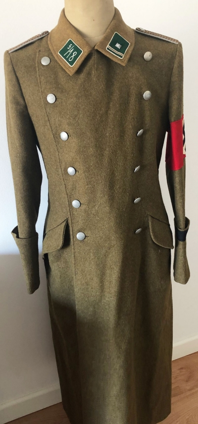 German WWII Issue SA Greatcoat with Cufftitle
